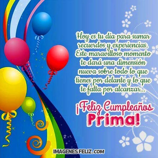 Tarjetas De Cumpleaños Para Una Prima Tarjeta Feliz Cumpleaños Prima Tarjetas De Feliz Cumpleaños Feliz Cumpleaños Primita Hermosa