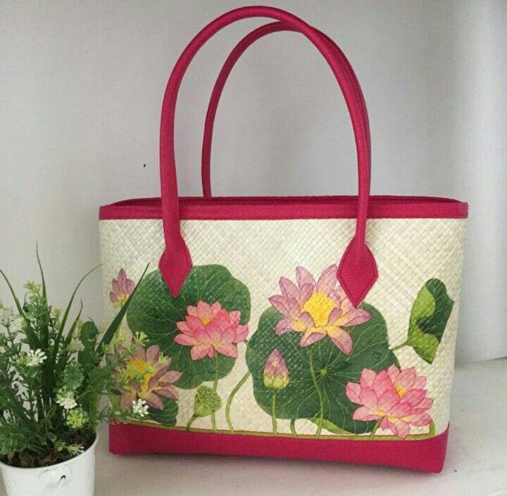 Pingky Lotus Painting - Woven Bag