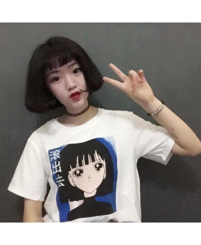 Футболка с принтом девушки из аниме,иероглифы