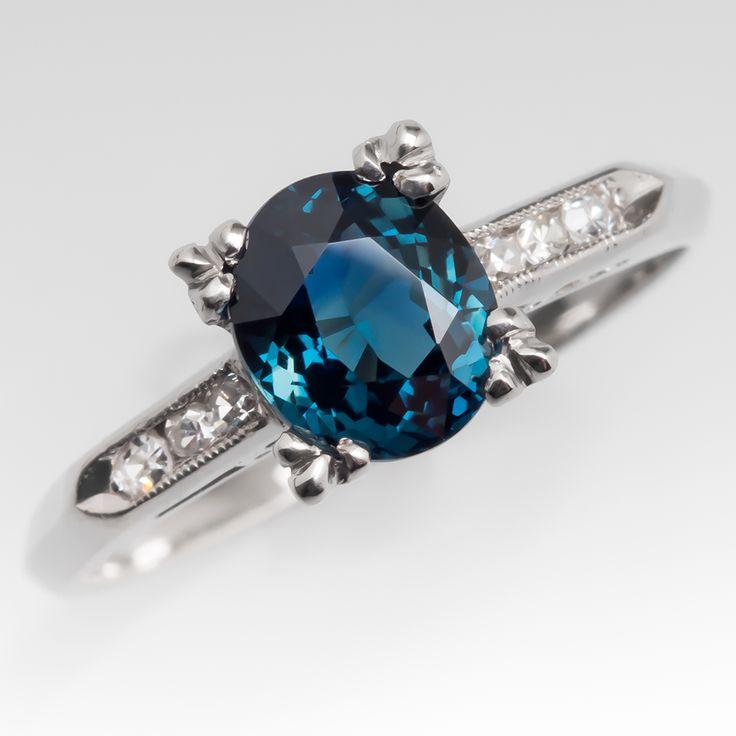 Teal Blue Green Sapphire Engagement Ring Platinum