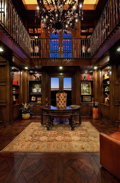 Modern Home Library Ideas: Lofted Library, Old World Office Space. Love The Dark Wood