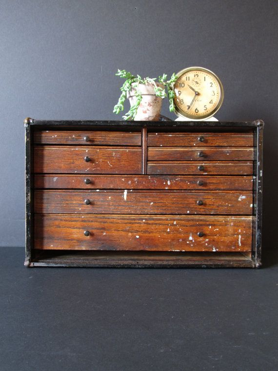 Vintage machinist tool box, wooden tool chest, industrial decor, tool box chest.
