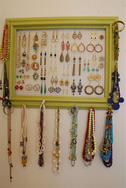 DIY Jewelry Organizer- this is an alteration to the jewelry wall I'm planning. Maybe I'll have to try it this way!