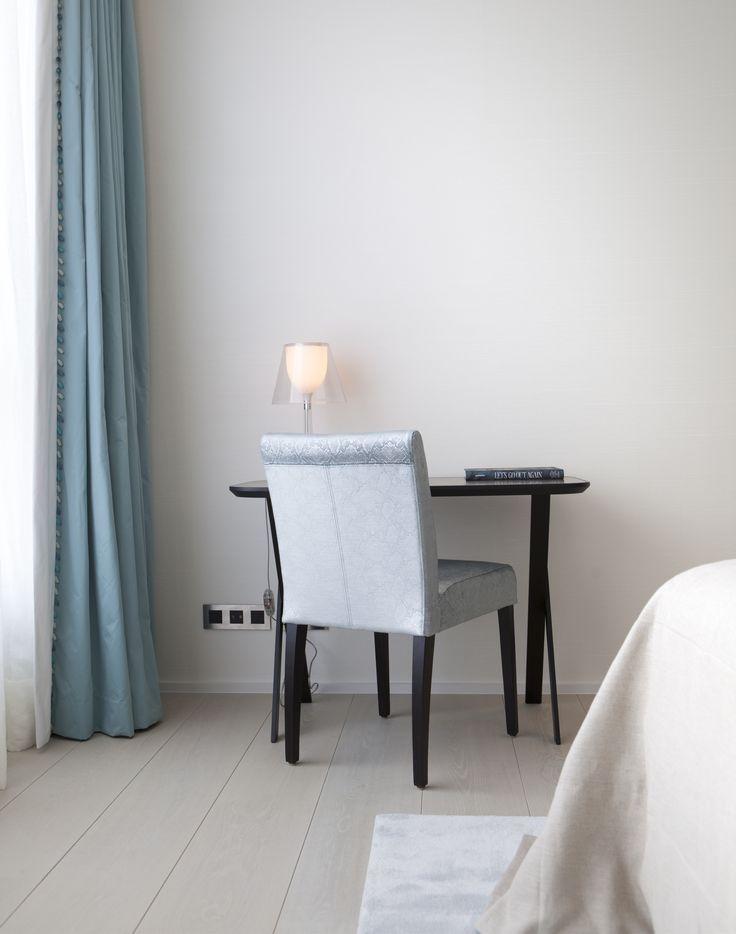Byron & Jones Interiors - Desk - Chair - Lightning - Curtains - Light Blue - White