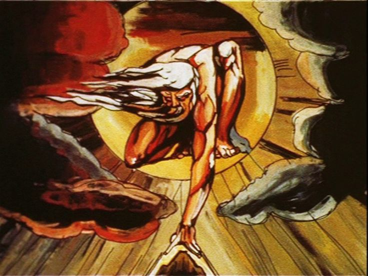 """Animated William Blake - showing progress of the """"Poet Figure"""" in his work. Made for the Tate Gallery Blake exhibition in the 1970's http://www.graber-miller.com/my%20music%20blake.html"""