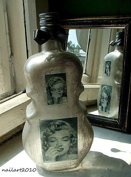 Marilyn Monroe butelka wazon dekoracja decoupage - nailart2010 - Dodatki do domu