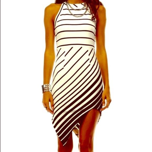 NWTSummer Nights  Sexy & Sassy Dress PLEASE DON'T Buy This Listing! Leave Your Size In Comments Below & I Will Make You A Listing!Brand New For Summer This Sexy Asymmetrical Black & White Striped Dress Is Simple, Yet Stunning!  I Have Small & Medium In Stock!  REMEMBER PLEASE DON'T BUY THIS LISTING!! Thanks!! Tea n Cup Dresses Asymmetrical