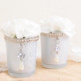 Vasito cristal para velas con broche vintage