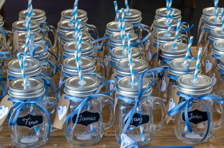 Wedding Photographer - Candid Photos of a Lifetime  Personalised mason jars (with lid and straw), not only make an adorable glass to drink out of at the wedding, but also a lovely wedding favour / bonbonniere