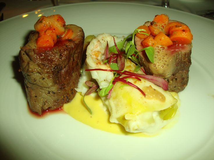 Venison, langoustine and an oxtail and foie gras cannelloni