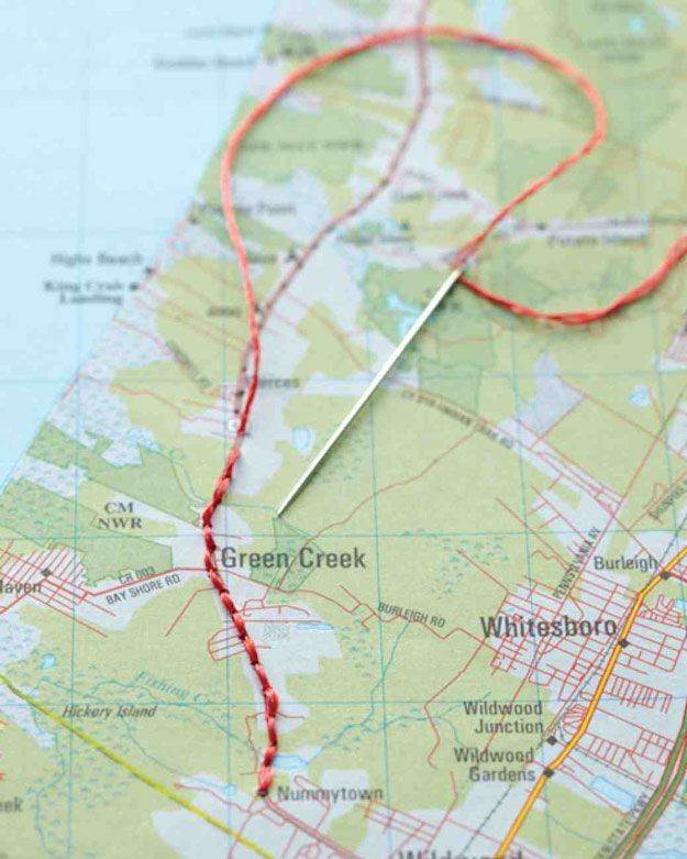 Cool DIY Travel Scrapbook Ideas | Embroidered Map by DIY Ready at http://diyready.com/cool-scrapbook-ideas-you-should-make/