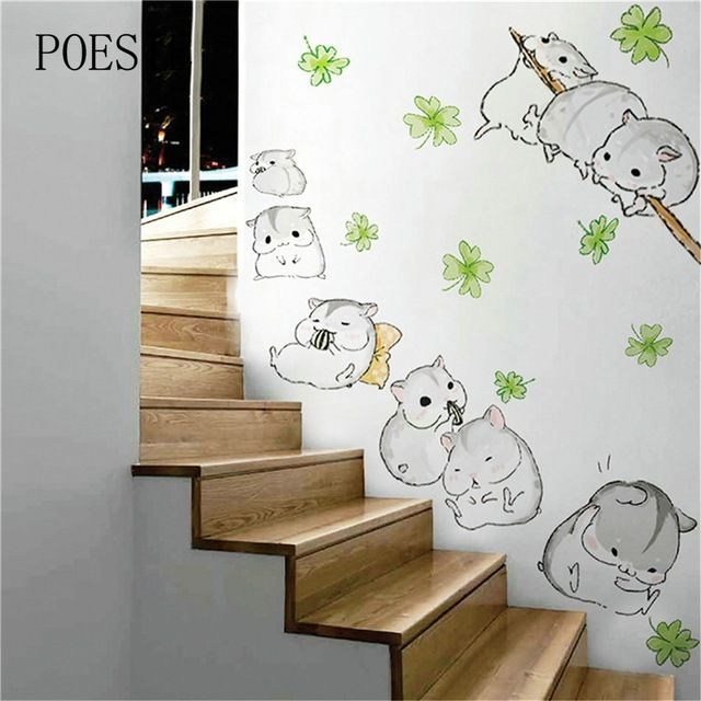 Fair price Lovely Little hamster Wall Stickers For Kids Rooms kindergarten Cartoon Wallpaper Home Decoration Adesivo De Parede 2016 just only $3.28 with free shipping worldwide  #wallstickers Plese click on picture to see our special price for you