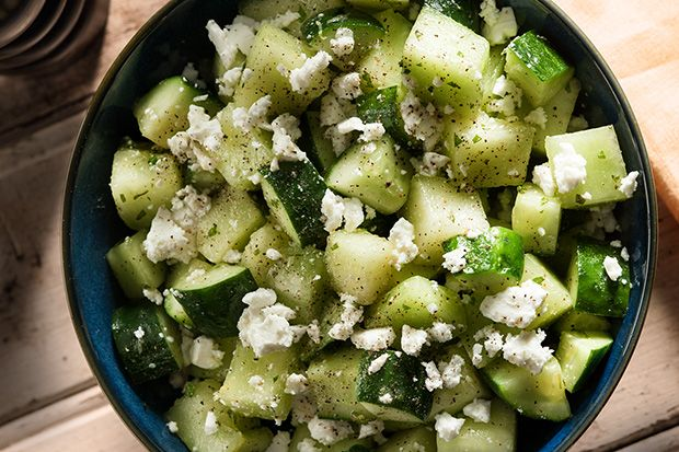 Melon and Cucumber Salad with Feta, Black Pepper, and Mint #summer #salad