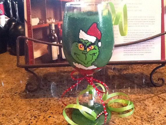 The Grinch that stole Christmas 12 oz wine glass via Etsy