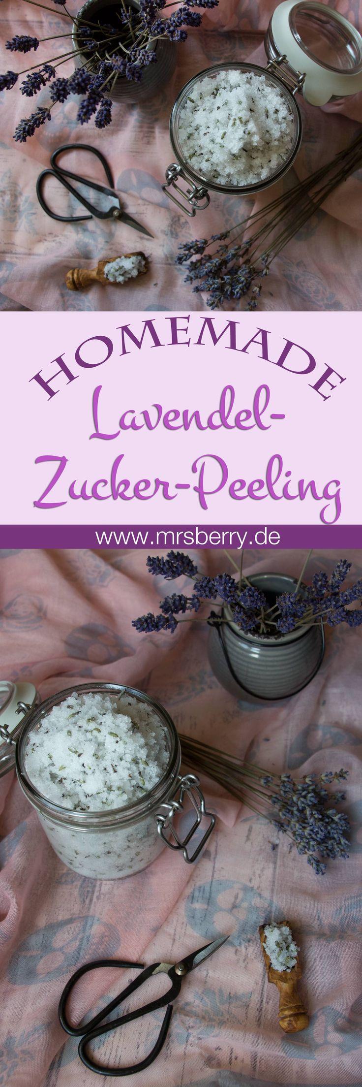 Peeling selbermachen: Lavender-Zucker-Peeling. Aus nur 4 Zutaten entsteht dieses wohlriechende und entspannende Gesichtspeeling und Körperpeeling. Weitere Peeling Ideen & Rezepte: http://mrsberry.de/tag/peeling/