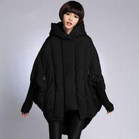 Мода Batwing Рукавом Duck Down Пальто С Капюшонами 2016 Корейский плюс Размер Теплые Зимние Куртки Женские Длинные парки для женщин зима