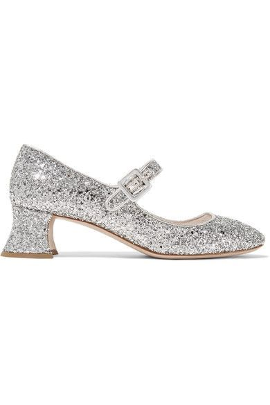 Heel measures approximately 45mm/ 2 inches Silver glittered leather  Buckle-fastening strap  Made in Italy