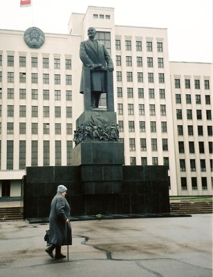 Lenin's statues are disappearing from the squares and streets of former Soviet countries. In Minsk there's at least this one still standing in front of the House of Government.  Minsk, Belarus. (V)