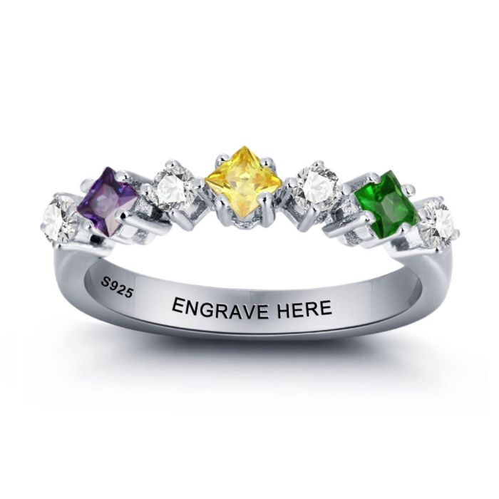 Discount Voucher Special!! >>> ENTER CODE: SUMMER AT CHECKOUT & SAVE FOR EACH AND EVERY ITEM IN OUR SPECIALS CATALOGUE! .... Specials items may be time limited so get yours quick! ....  Diamond Design Birthstone Personalised Ring - 925 Sterling Silver