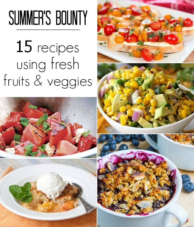 15 RECIPES USING FRESH FRUITS  VEGETABLES #recipes #peaches #corn #tomatoes @foodiebyglam: Fruit Amp, Recipes Peaches, 15 Recipes, Recipe Sites, Recipe Collections, Fruit Vegetables, Summer Recipes, Vegetable Recipes, Fresh Fruit