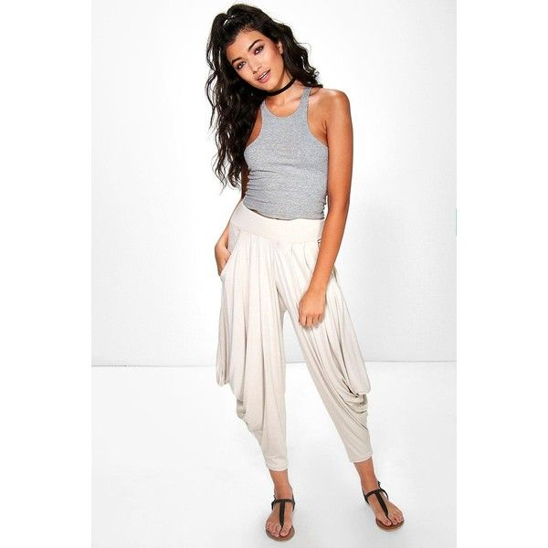 Boohoo Valencia Oversized Slouchy Hareem Trousers ($20) ❤ liked on Polyvore featuring pants, stone, sport pants, basic tshirt, white trousers, palazzo pants and wide leg pants