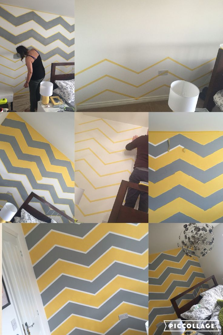Chevron zig zag wall art yellow and grey Justine Kingston
