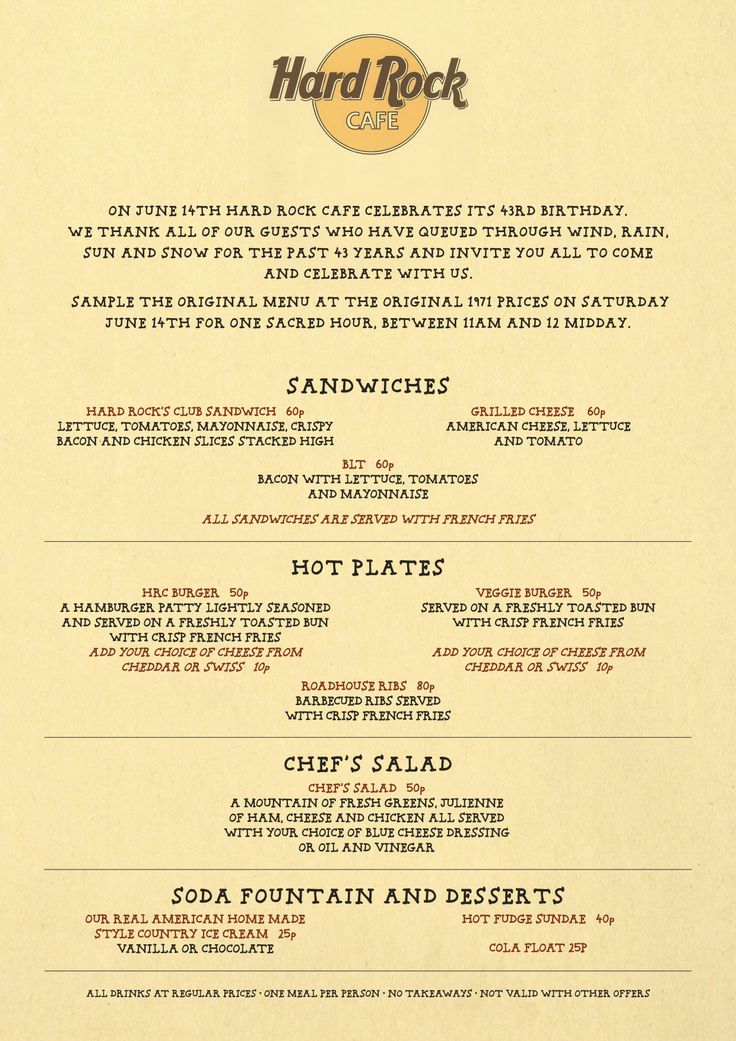 Hard Rock Cafe Menu Cologne