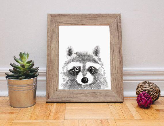 Raccoon Print - Raccoon Painting - Watercolor Painting - Raccoon Art - Kids Wall Art - Woodland Nursery