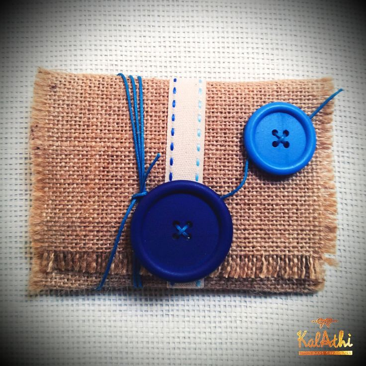 Burlap pouch with wooden buttons by KalAthi photo © KalAthi