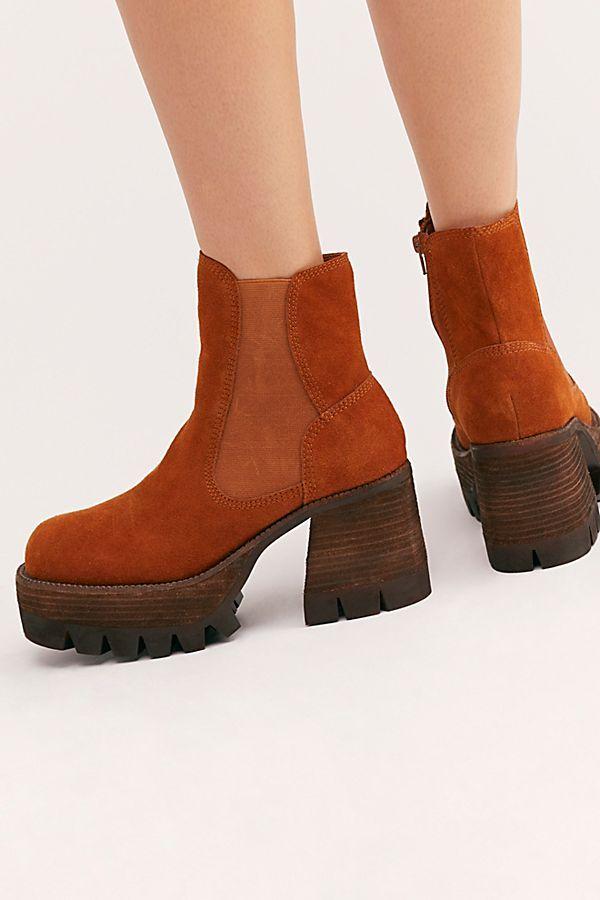 bd32d77b0a Preston Platform Ankle Boots - Rust Red Suede Platform Ankle Boots -  Jeffrey Campbell Boots - Suede Platform Boots - Red Orange Platform Boots -  Orange ...