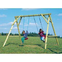 Altalena bambini in legno per esterno con 2 seggiolini. I tuoi bambini possono giocare all'esterno a prezzi Outlet.