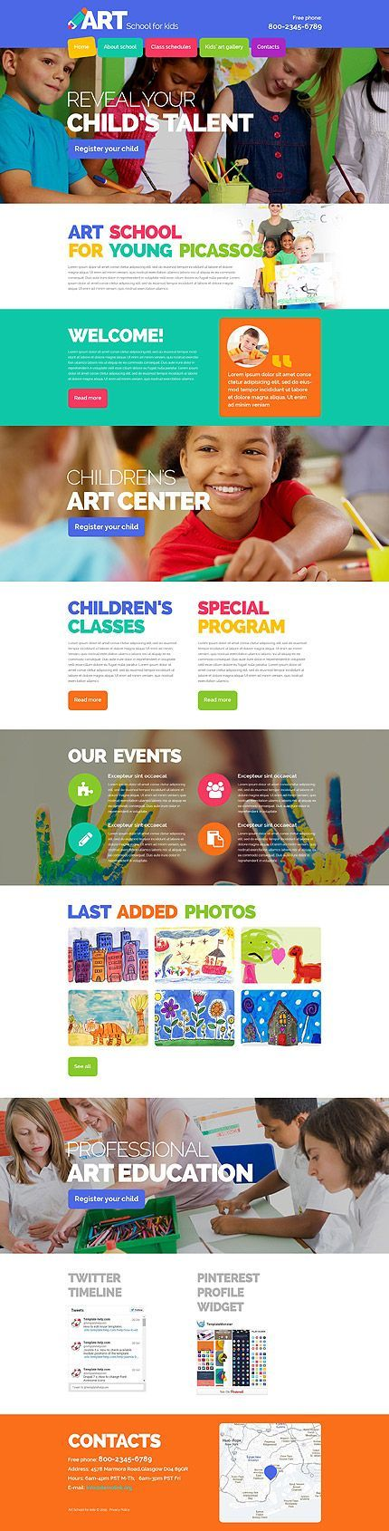 Art School For Kids #website #template. #themes #business #responsive #websitethemes. If you like UX, design, or design thinking, check out theuxblog.com podcast https://itunes.apple.com/us/podcast/ux-blog-user-experience-design/id1127946001?mt=2