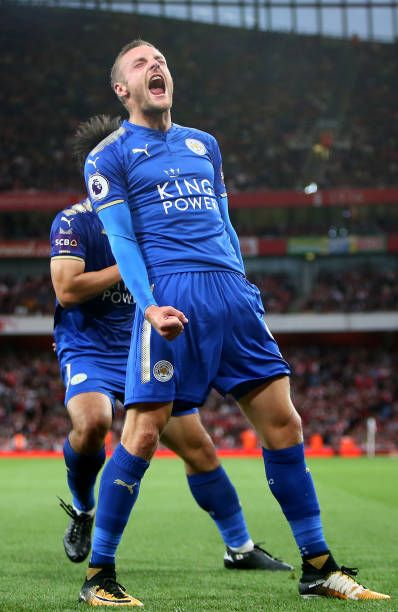 Jamie Vardy of Leicester City celebrates after scoring to make it 12 during the Premier League match between Arsenal and Leicester City at Emirates...