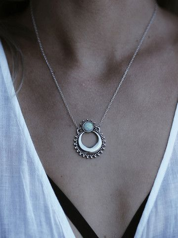 Moon Shine Snow Opal Necklace
