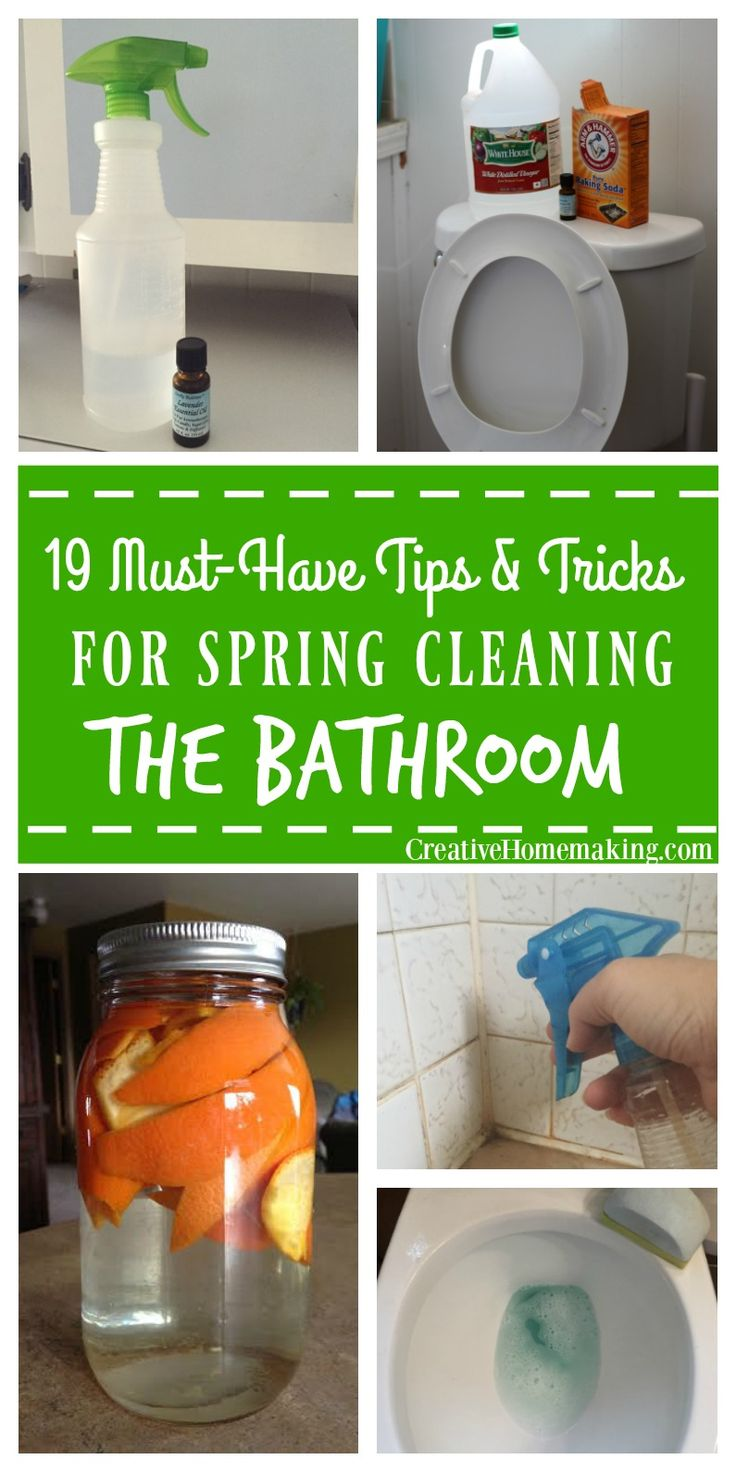 Easy money-saving tips for spring cleaning your bathroom. Homemade toilet cleaner, general disinfectant spray, glass cleaner, miracle shower the tub spray, mold and mildew remover, and more!