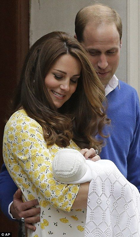 HRH Princess Charlotte of Cambridge born 2nd May 2015 seen here with her parents Princess Kate and Prince William on the steps of the Lindo Wing where she was born earlier that day.: