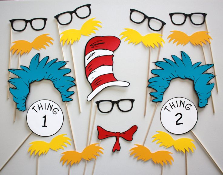 Dr. Seuss Makes Reading Fun Photo Booth Party Props - 19 Piece Set. $35.00, via Etsy. Got these for Violet's class' Dr. Seuss Day celebration! So cute and the packaging was really nice!