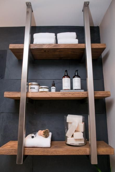 The open shelving in the master bathroom of the newly renovated Ridley home, as seen on Fixer Upper. (after)