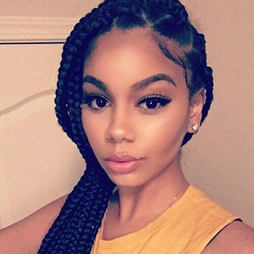 Medium Sized Box Braids with Side Swept Ponytail