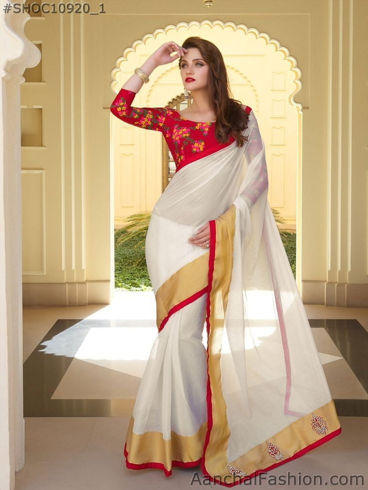 Buy Off White And Red Art Silk Resham Embroidery Saree [#SH0C10920]