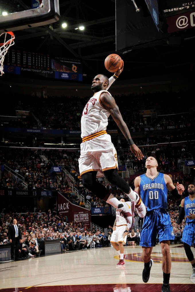 LeBron James #23 of the Cleveland Cavaliers dunks against the Orlando Magic during the game on April 4, 2017 at Quicken Loans Arena in Cleveland, Ohio.