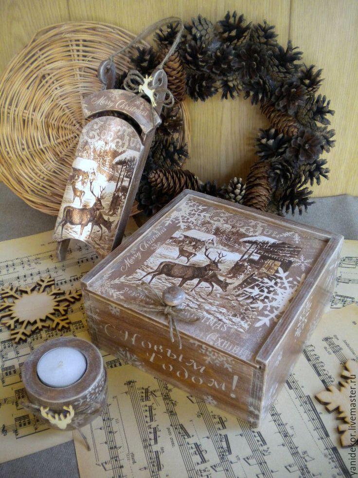 Купить Короб для чая, подсвечник и саночки Северная Сказка подарок на Новый г - коричневый, шкатулка
