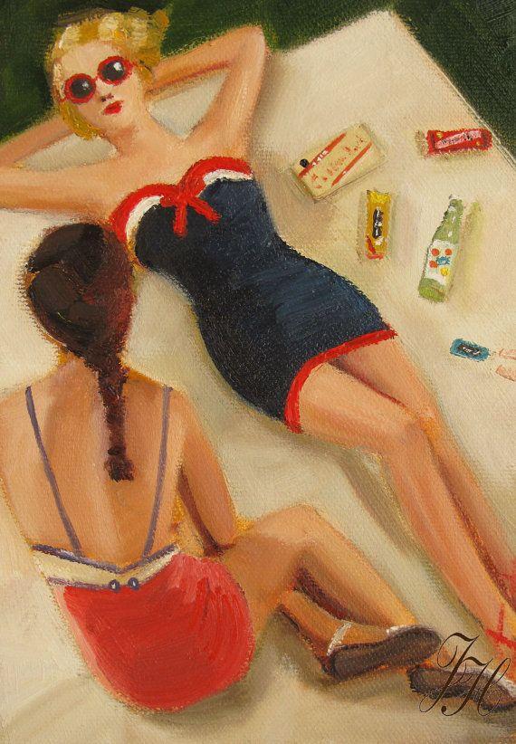 Girl Talk Original Oil Painting by janethillstudio on Etsy