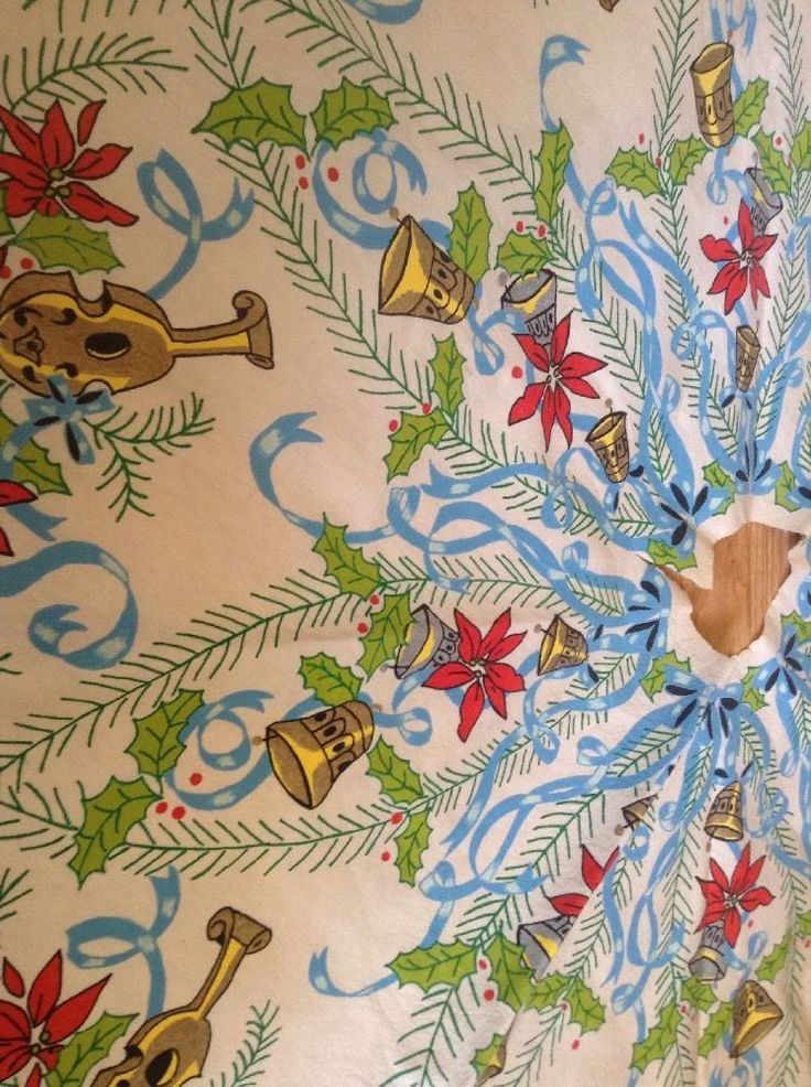 Vintage Midcentury Christmas Tree Skirt Blue Ribbon And Bows Poinsettia Bells   | eBay