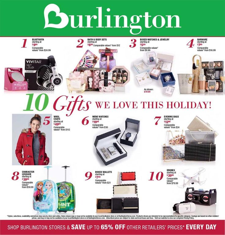 Burlington Coat Factory Black Friday 2017 Ad Scan Deals and Sales #coupons  Burlington Coat Factory is a leading retailer offering off-price apparel home products linens and in-store Baby Depot locations. Name brands like Fila Beverly Hills Polo Club Anchor Hocking Samsonite Zoo York and Swiss Army are dramatically discounted.  Bath & Body Sets  $6.99  Buy Now  Bluetooth Headphones  $9.99  Buy Now  Boxed Wallets  $7.99  Buy Now  Evening Bags  $12.99  Buy Now  Mens Watches  $19.99  Buy Now…