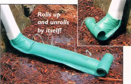 "46"" DOWNSPOUT DRAIN by Rain Drain. $3.99. Stainless steel springs. 7-1/2"" x 46"".. Heavy-duty vinyl sleeve clamps onto any rectangular or round spout.. Water will gently disperse by moving flow away from the house. 46"" One size fits all standard downspouts. Prevents Rain Water From Washing Away Your Soil. Self-Coiling Downspout Diverter prevents damp basements.  Pressure of rain water coming down the downspout automatically uncoils this downspout extender to disperse the water..."