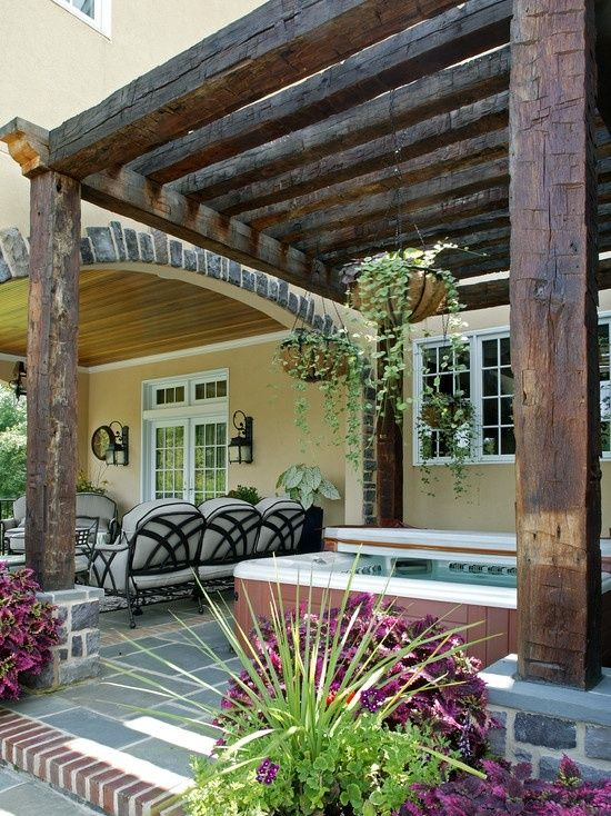 Could probably make with railroad ties.  Fantastic Custom Outdoor Pergola Ideas for a Beautiful Outdoor Home Decoration : Rustic Custom Outdoor Pergola Ideas | See more about outdoor pergola, home decorations and pergolas.