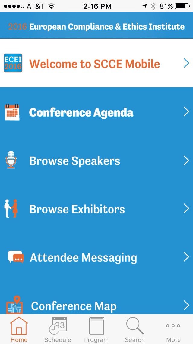 ECEI 2016 NOW screen for iOS devices in the EventPilot Conference App for medical meeting.