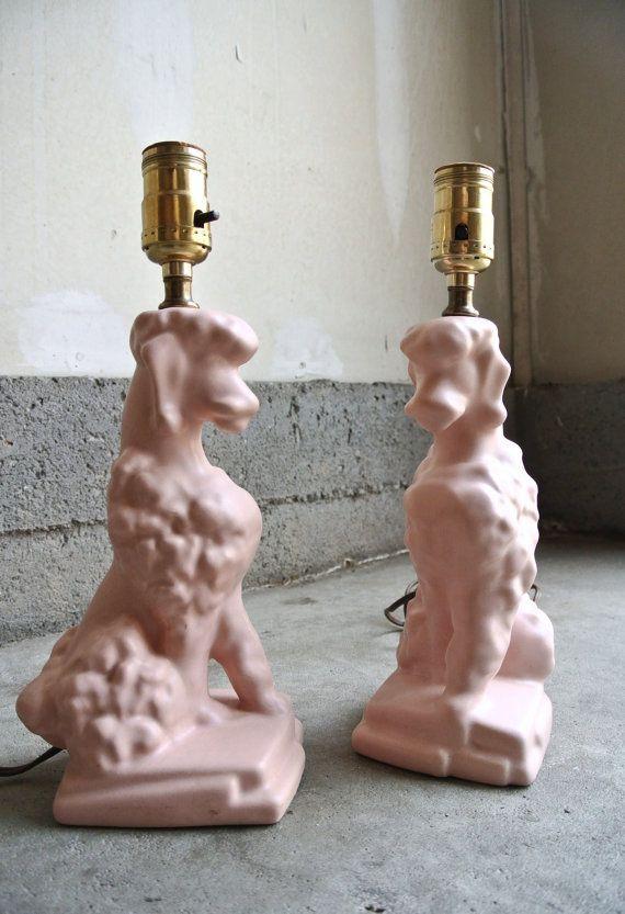 10% OFF - Pretty Vintage Pink Poodle Lamps - Set Of 2 - Ceramic Poodle Lamps - Little Girl's Room Lamp - Novelty Lamps - Dog Lamps