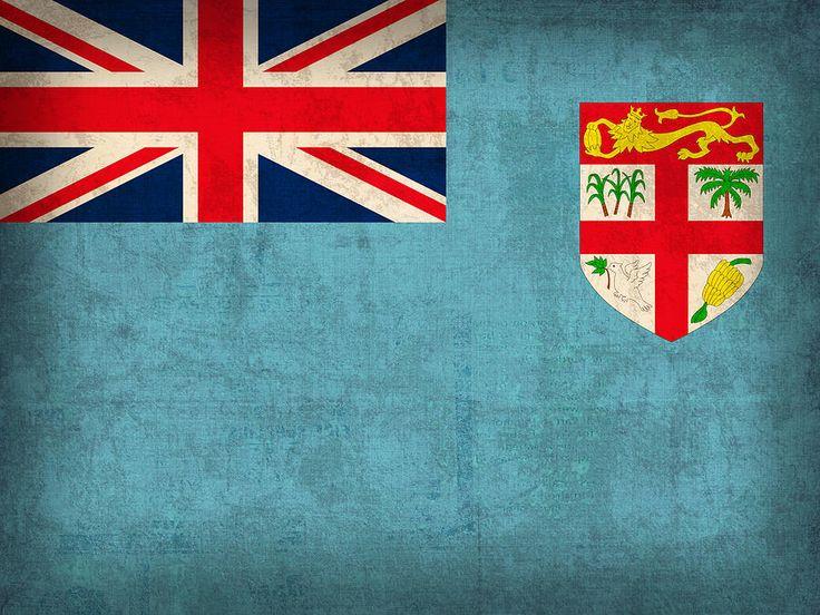 Fiji Flag Vintage Distressed Finish Mixed Media